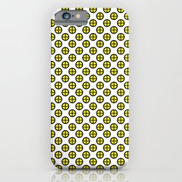 Cute, Seamless and colorful pattern of black and yellow polka dots iPhone Case