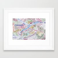 literary Framed Art Prints featuring St. Petersburg Literary Map by Ilya Merenzon