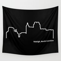 north carolina Wall Tapestries featuring Raleigh, North Carolina by Fabian Bross