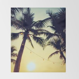 Vintage Palm trees with patio lanterns Throw Blanket
