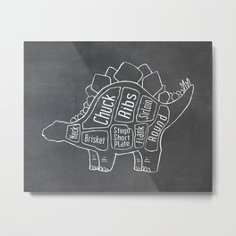 Stegosaurus Dinosaur (A.K.A Armored Lizard) Butcher Meat Diagram Metal Print