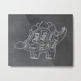 Stegosaurus Dinosaur (A.K.A Armored Lizard) Butcher Meat Diagram Metal Print