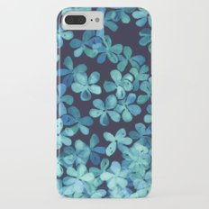 Hand Painted Floral Pattern in Teal & Navy Blue iPhone 7 Plus Slim Case
