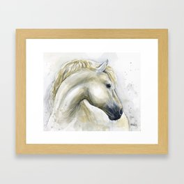 White Horse Watercolor Painting Animal Horses Framed Art Print