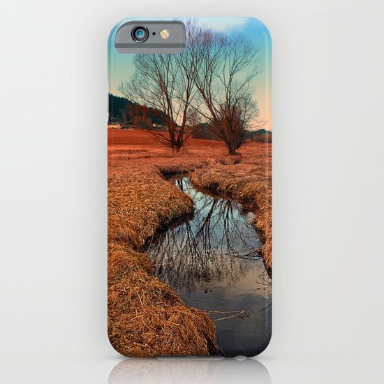 A stream, dry grass, reflections and trees | waterscape photography iPhone & iPod Case