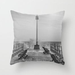 Swanage Jetty in Mono Throw Pillow