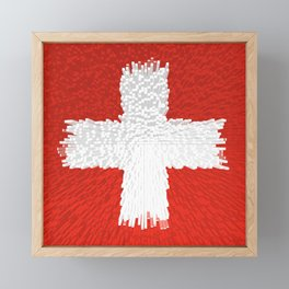 Extruded flag of Switzerland Framed Mini Art Print