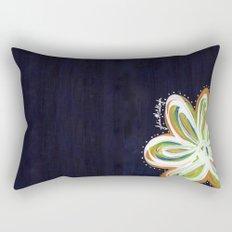 Navy and Gold Flower Rectangular Pillow