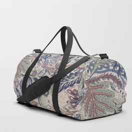 Muted Colors Flower Field, Soft Moss Green Leaves &  Intricate Petrol Blue Floral Blooms Pattern Duffle Bag
