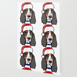 Basset Hound Dog Christmas Hat Wallpaper