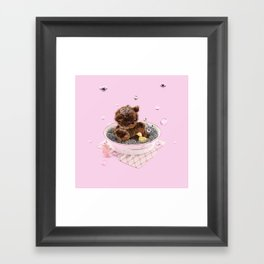 Bath Time Teddy - Pink Framed Art Print