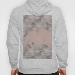 Silver fern leaves on rosegold background - abstract pattern Hoody