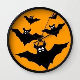 Cool cute Black Flying bats Halloween Wall Clock