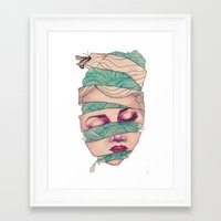 knit Framed Art Prints featuring Knit Head by AW Illustrations