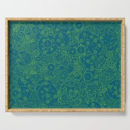Clockwork Turquoise & Lime / Cogs and clockwork parts lineart pattern Serving Tray