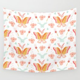 Modern cute pastel coral teal butterfly floral pattern Wall Tapestry