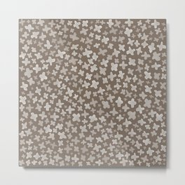 White Flowers on Brown Metal Print