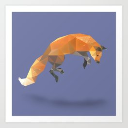 Low Poly Flying Red Fox Art Print