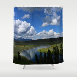 Meadow With Yellowstone River Shower Curtain