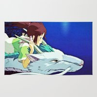 chihiro Area & Throw Rugs featuring Spirited Away (Chihiro and Haku) by Tiffany Gage Graphics