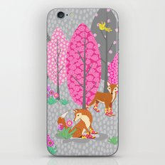 Foxes in Galoshes - Pink and Gray iPhone & iPod Skin