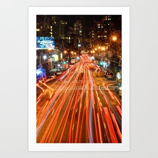 City Traffic In The Night Art Print