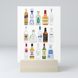 Tequila, Whiskey, Vodka Bottles Illustration Mini Art Print