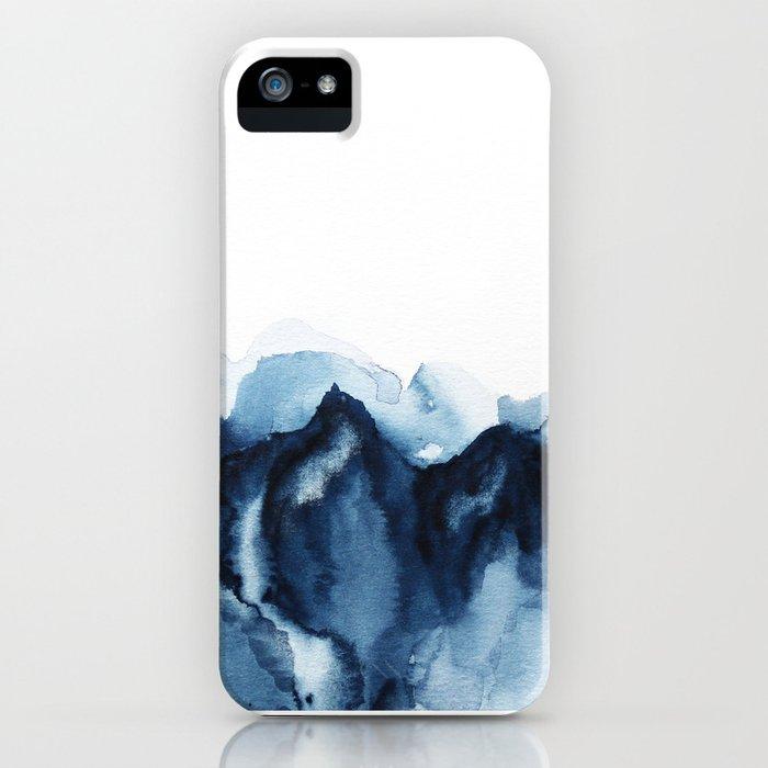 abstract indigo mountains iphone case