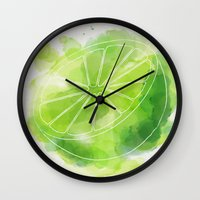 lime green Wall Clocks featuring Lime by Ashley Stone