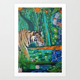 Tiger at Water Hole Art Print