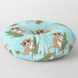 pattern - lemur on green branch on blue background Floor Pillow