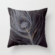 White Peacock Feather Throw Pillow