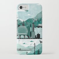 travel poster iPhone & iPod Cases featuring Vancouver Travel Poster Illustration by ClaireIllustrations
