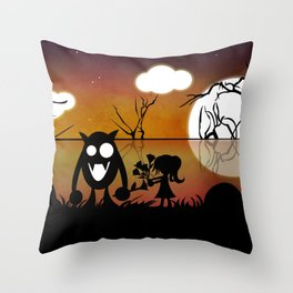 Monsters for Litle Girls 002: Mischa, with Bob Throw Pillow