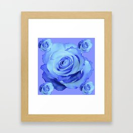 LIGHT BLUE ROSES & BLUE  MODERN ART GARDEN Framed Art Print