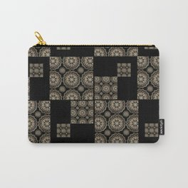 Large Rose-Gold and Black Floral Mandala Textile Piece Carry-All Pouch