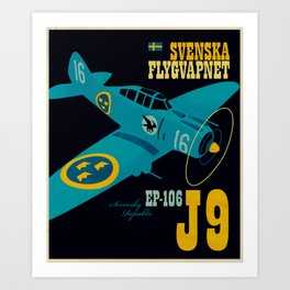 Swedish EP-106 airplane poster ShreddyStudio Dennis Weber Art Print