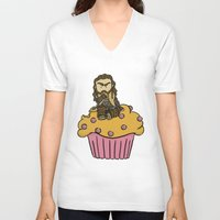 thorin V-neck T-shirts featuring Thorin & the Muffin by The Psychowl