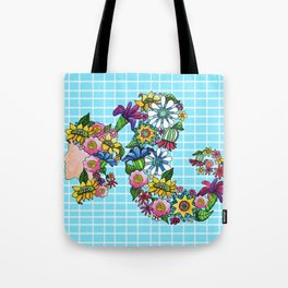 Blooming on Turquoise Tote Bag