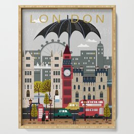 Welcome, Rain, Street ,Umbrella ,London Serving Tray
