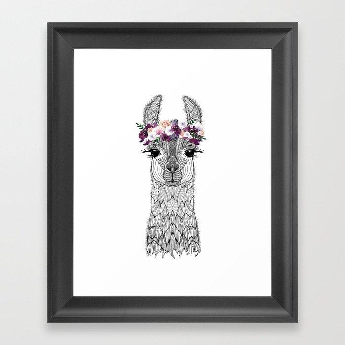 FLOWER GIRL ALPACA Framed Art Print