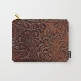 Burnished Rich Brown Tooled Leather Carry-All Pouch