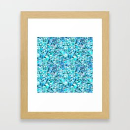 Icy Blue Crystalline Abstract Geometric structures Framed Art Print