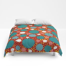 Untitled, red w/dots Comforters