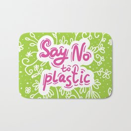 Say no to plastic.  Pollution problem, ecology banner poster. Bath Mat
