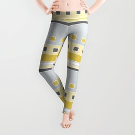 Squares and Stripes in Yellow and Gray Leggings