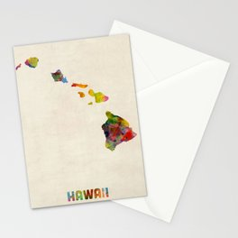 Hawaii Watercolor Map Stationery Cards