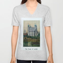The Tower of London Vintage Travel Poster Unisex V-Neck