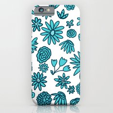 Blue Flowers on White Slim Case iPhone 6s
