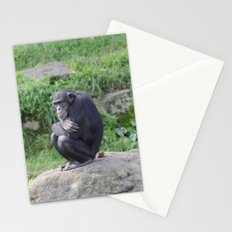 Thinking chimp and poop Stationery Cards